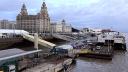 Great Britain England Liverpool 062 pier with Royal Liver building Footage