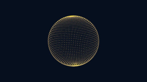 Particles morph into a 3D sphere. Science motion graphics with dark background Animation