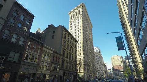 New York, USA Flatiron Building day view facade in Manhattan Footage