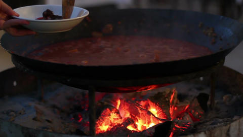 Cooking Food On The Fire In The Cauldron 2 Footage