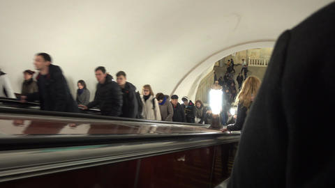 Passengers Descend the Escalator in the Metro Footage