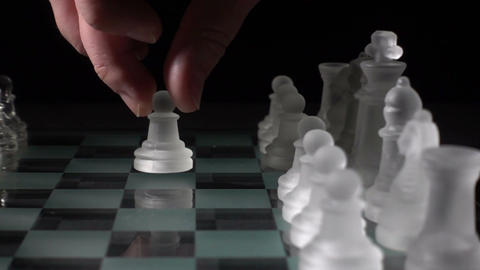 Glass chess pieces Footage
