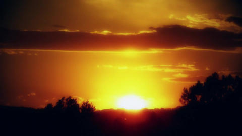 Glowing Sunset Sundown with Clouds Timelapse Background Backdrop Footage