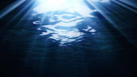 Dark Blue Deep Sea Underwater with Sunlight Rays Background Backdrop