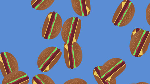 Burger Dancing Background, Fast Food Concept Animation