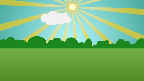 Colorful cartoon nature background with space for your text or logo Animation