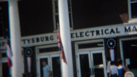 1968: Family at national museum looks at map window display Footage