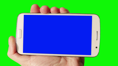 Smartphone In Hand Man. Green Screen stock footage