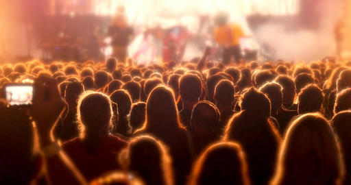 Crowd partying at rock concert festival stage event GIF