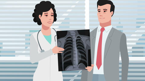 Cartoon Clinic / Male patient with chest Xray Animation