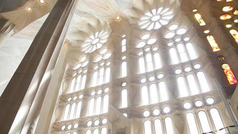 Church window at Sagrada Familia Temple Footage