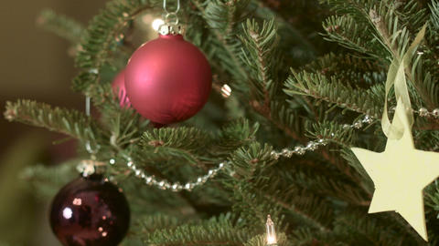 Decorative balls in a Christmas Tree Footage