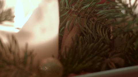 Closeup of traditional German Christmas decoration revealing Cinnamon stick Footage