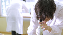 Female lab tech looking into microscope Footage