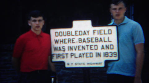1969: Historic doubleday baseball field sign where sons dream Footage