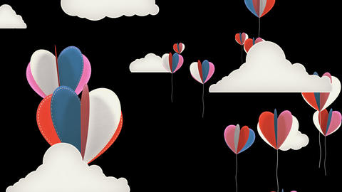 Heart Balloons Background Animation for Valentines Day and Wedding Animation