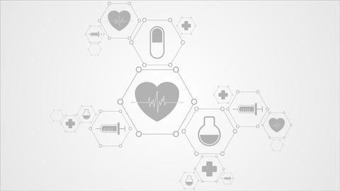 Medical video animation with health icons Animation