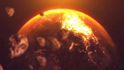 Destroyed Planet Stock Video Footage