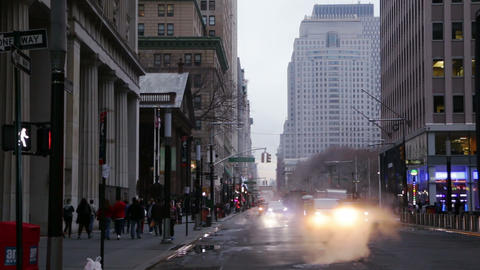Traffic on the Street of New York City. Slow Motion Footage