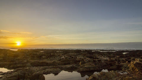 4K Pan Time lapse Sunset Atlantic Ocean view at Dar Bouazza Footage