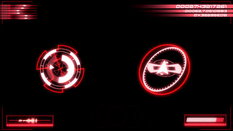 Red Digital HUD Navigation Interface Display Graphic Element Animation