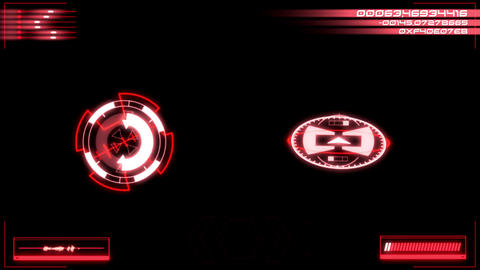 Red Digital HUD Navigation Interface Display Graphic Element Stock Video Footage
