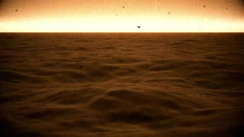 Old Film View of Sea Ocean Surface with Rough Waves Animation Animation