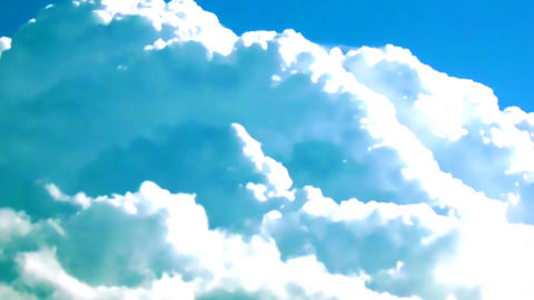 Fluffy Clouds Cloudscape with Airplane Trail TimeLapse Background Footage