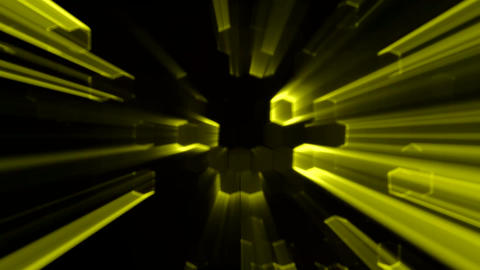 Yellow Abstract Hexagons Animation with Neon Effect and light Rays Background Ba Animation