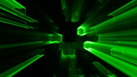 Green Abstract Hexagons Animation with Neon Effect and light Rays Background Bac Animation