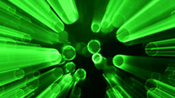 Glowing Green Circles with Neon Effect and Light Rays Abstract Background Backdr Animation