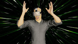 Man in virtual reality glasses, animation, Alpha channel Animation