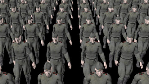 The regiment of Russian soldiers marching,loop, animation, Alpha channel