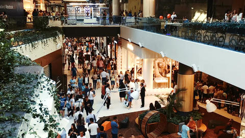 Timelapse Of People Crowd Rush For Shopping In Luxury Mall Footage