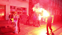 March of radical extremists, man with torch, suppression of democracy, against t Footage