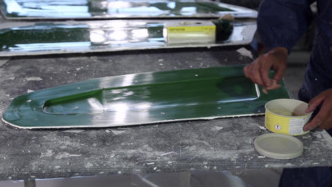Construction of plastic boats GIF
