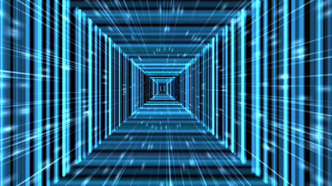 Blue Squared Tron Matrix Virtual Tunnel Background Animation Animation