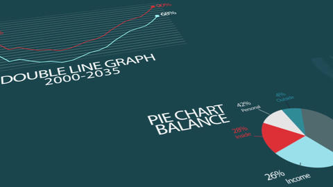 Infographics Abstract Elements With Dark Blue Background, seamless looping anima Animation