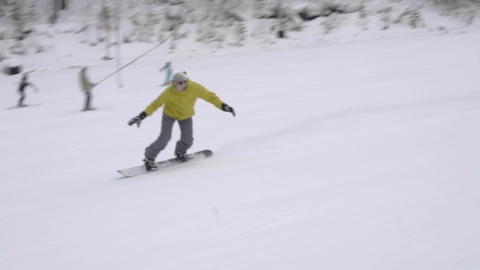 Snowboarding downhill slow Footage
