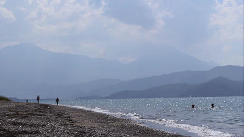 The Beach In Turkey Mountains 7 Footage