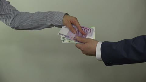 man pay euro cash money banknotes for woman and hand shake. 4K Footage