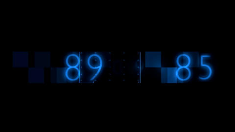 Blue Numbers Random Sequence Background Animation. Alpha Channel transparency in Animation