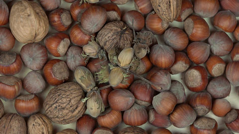 hazelnuts and walnuts dry nuts. Healthy food. anticlockwise turntable Footage