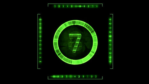 Random Numbers Green HUD Display Graphic Element. Alpha Channel included Animation