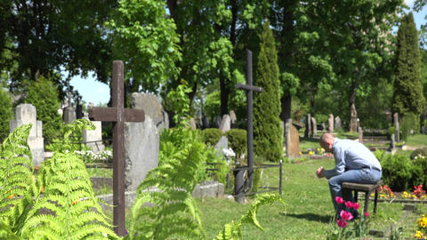 Despair mourning son man sit on bench near mother grave in cemetery. 4K Footage