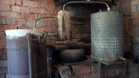 domestic old boiler to obtain strong vodka alcohol... Stock Video Footage