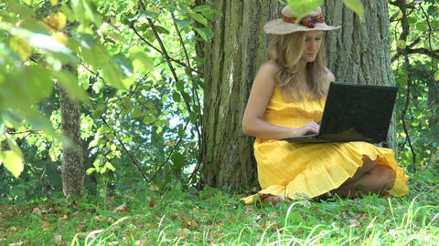 Woman working freelance. Entrepreneur self employed female using laptop in sunny Live Action