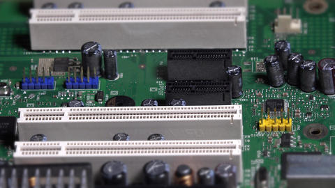 Hand insert pci card into main board slot on desktop computer Footage