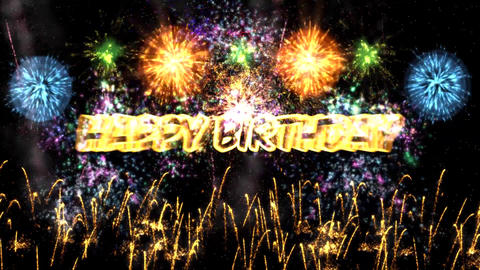 Happy Birthday with Fireworks in the Night Sky Background Animation