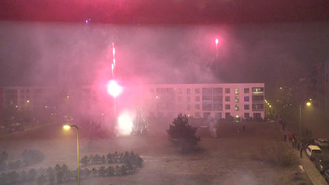 Citizen people celebrate new year in flat house yard and lot of fireworks blow Footage